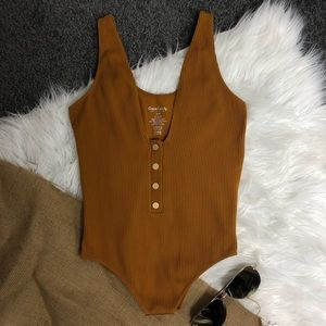 Ribbed Orange Lowcut Bodysuit